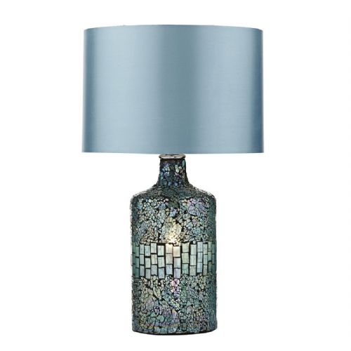 Guru Table Lamp Blue Mosaic Dual Source complete with Shade (Class 2 Double Insulated) BXGUR4223-17